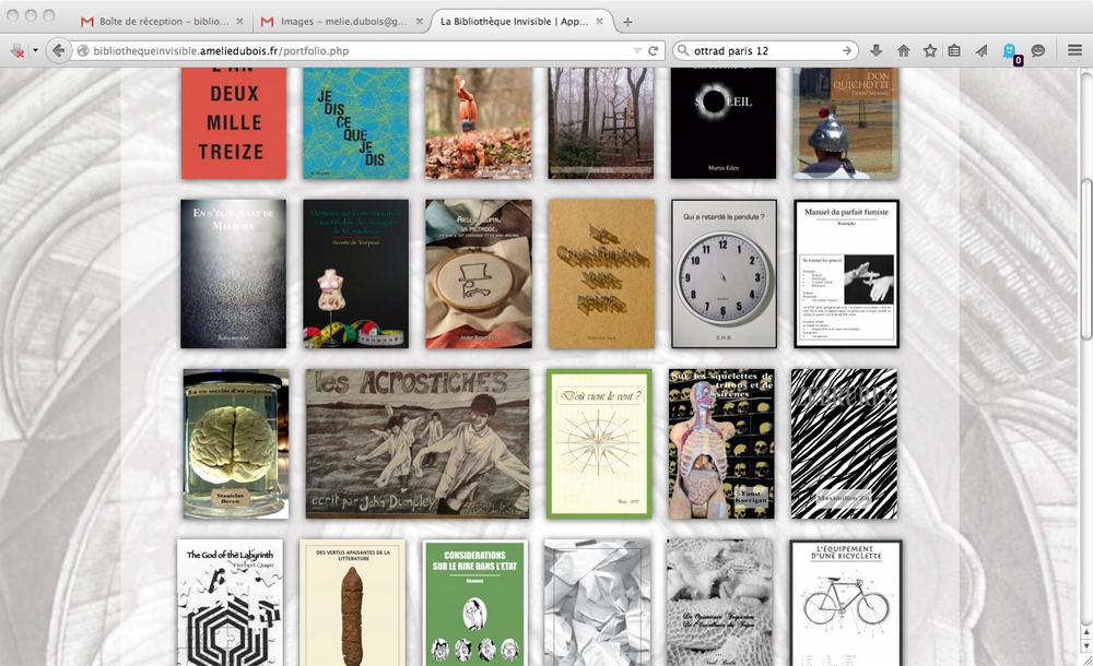 Capture d'écran du site web bibliothèque invisible, 2015.